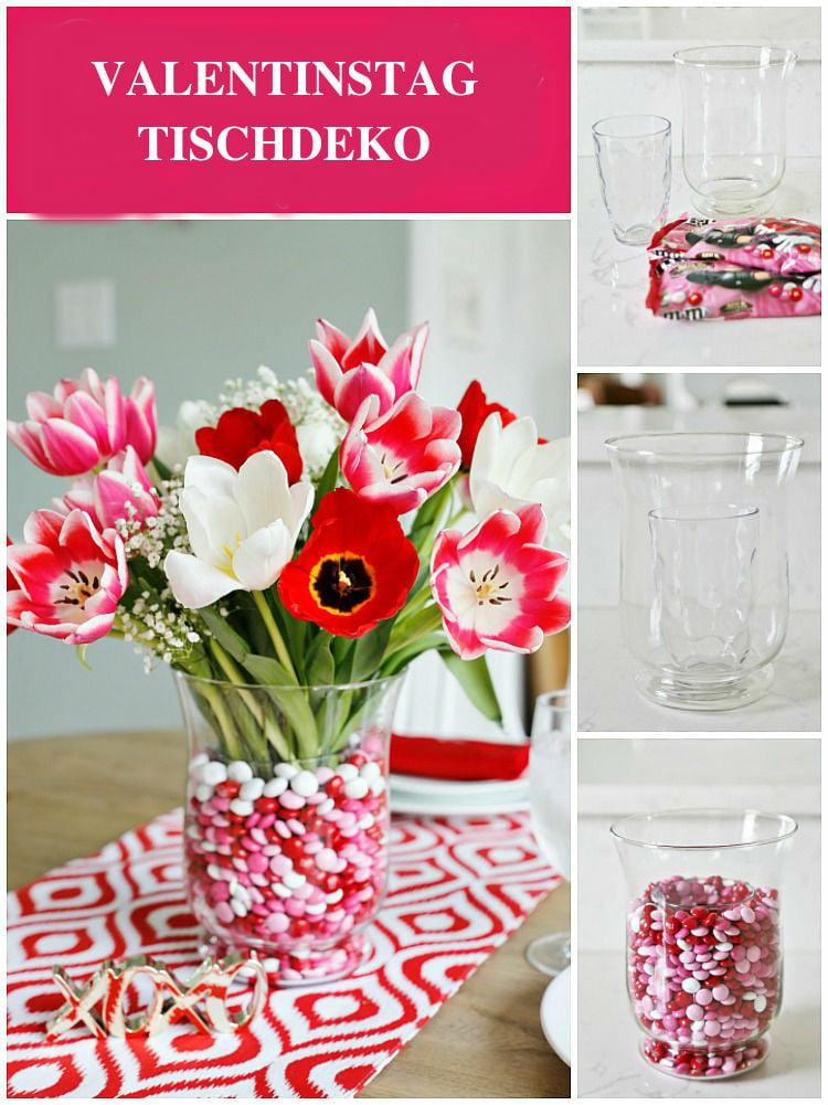 Tischdeko für Valentinstag