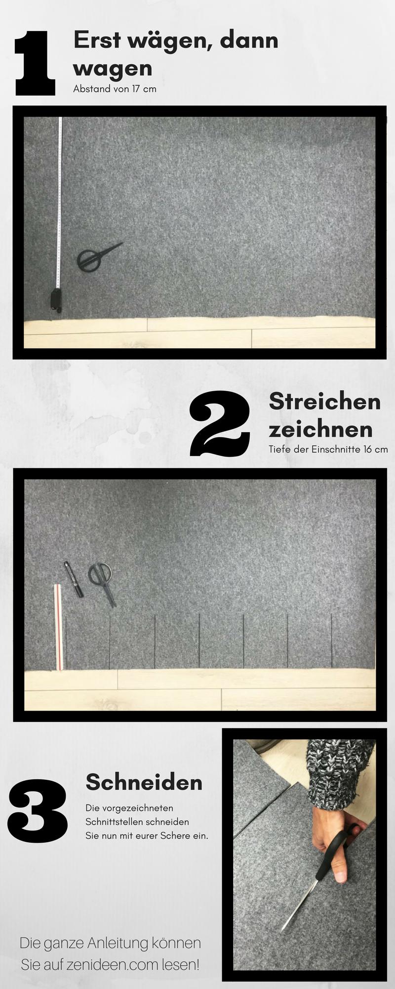 Wäschekorb selber basteln - Schritt 2: Der Filz wird mit 7 Einschnitten im Abstand von 17 cm und Tiefe von 16 cm geschnitten.