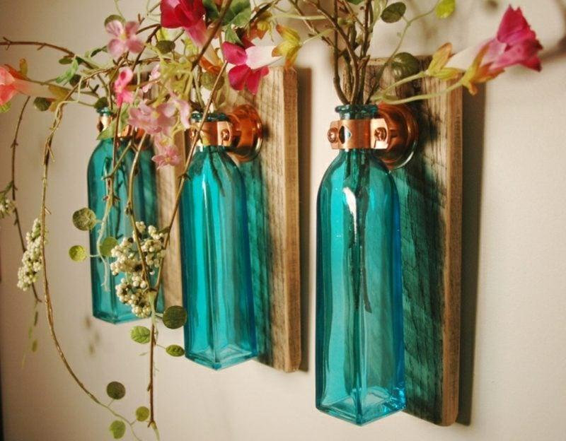 Wanddeko Holz DIY Vintage Vasen