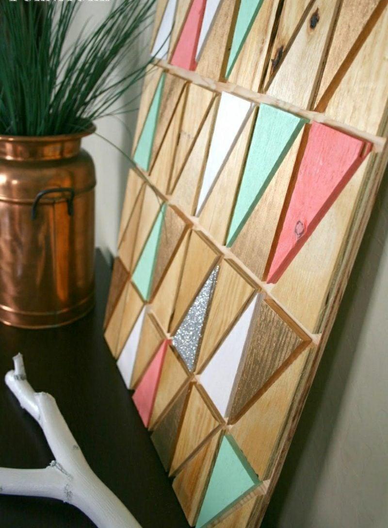 Wanddeko Holz tolles Wandbild geometrisch