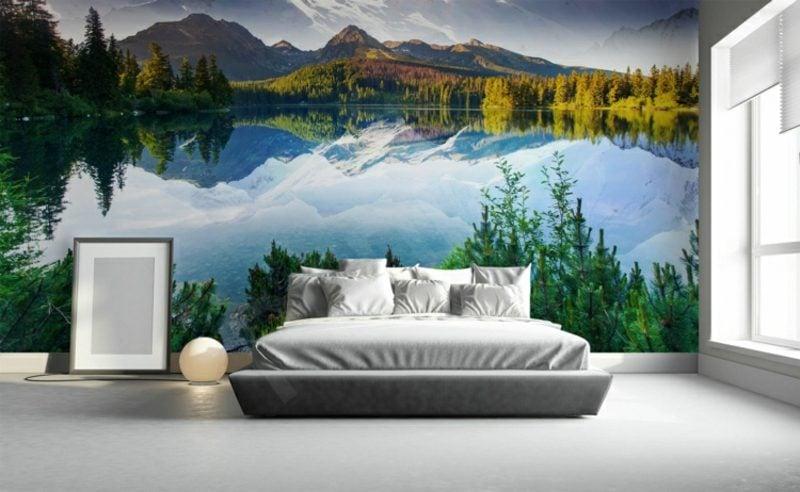 3D Fototapete Schlafzimmer See Bergen