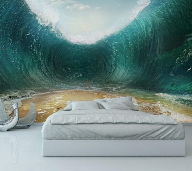 3D Fototapete Schlafzimmer Wellen