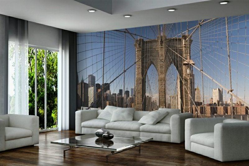 3D Fototapete Wohnzimmer urban Motive