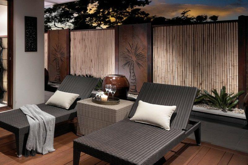 Sichtschutz Garten Bambuszaun Cortenstahl