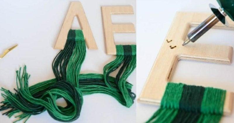 Wanddeko Holz Monogramme gestalten Anleitung