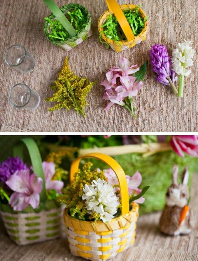 Osterndekoration Korb mit frischen Blumen