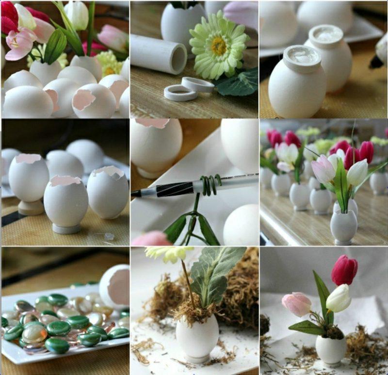 Osterdekoration Ideen mit Eierschalen