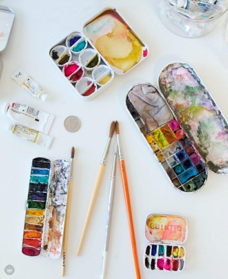 Ostereier bemalen mit Kindern Wasserfarben inspirierende Ideen