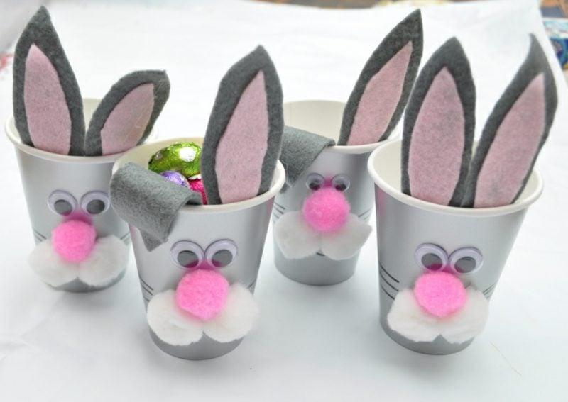 Ostergeschenke basteln niedliche Hasen