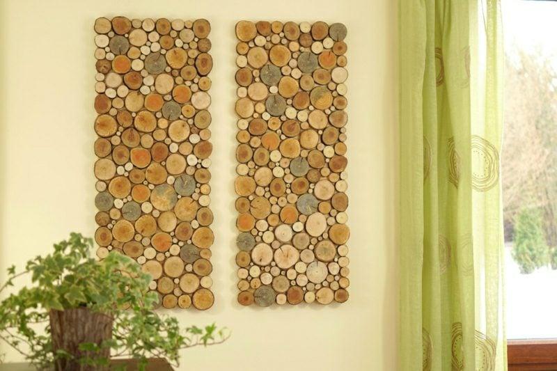Wanddeko Holz Wandbilder aus Holzscheiben