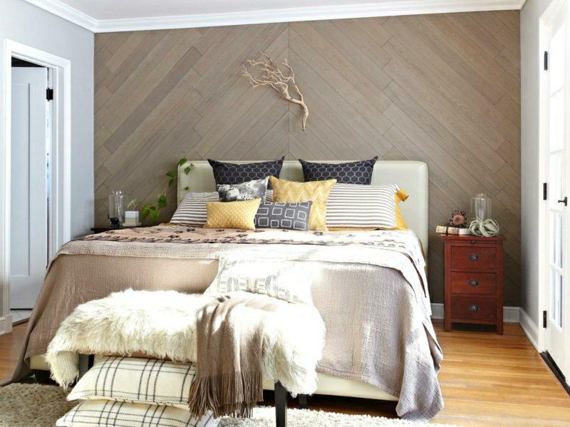 Wanddeko Holz das Schlafzimmer dekorieren
