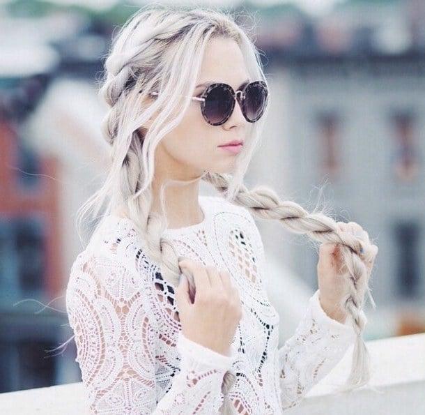 Sie können Ihre aschblonden Ombre Haare in Zöpfe tragen