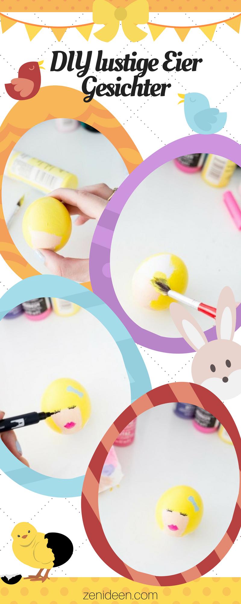 Die Foto-Anleitung für diese schönen lustigen Eier Gesichter