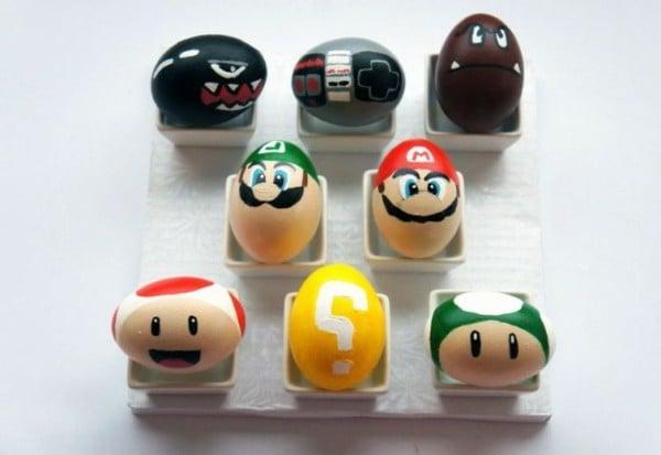 Super Mario auf Ostereier bemalen