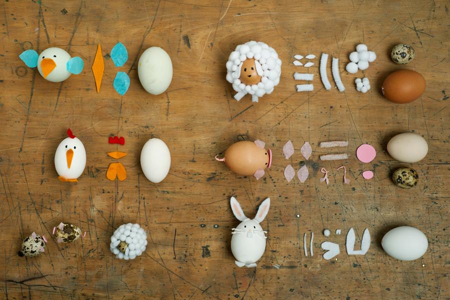 Die Anleitung für Technik #2: Kreieren Sie einen Bauernhof mit Ostereiern in Form der Haustiere