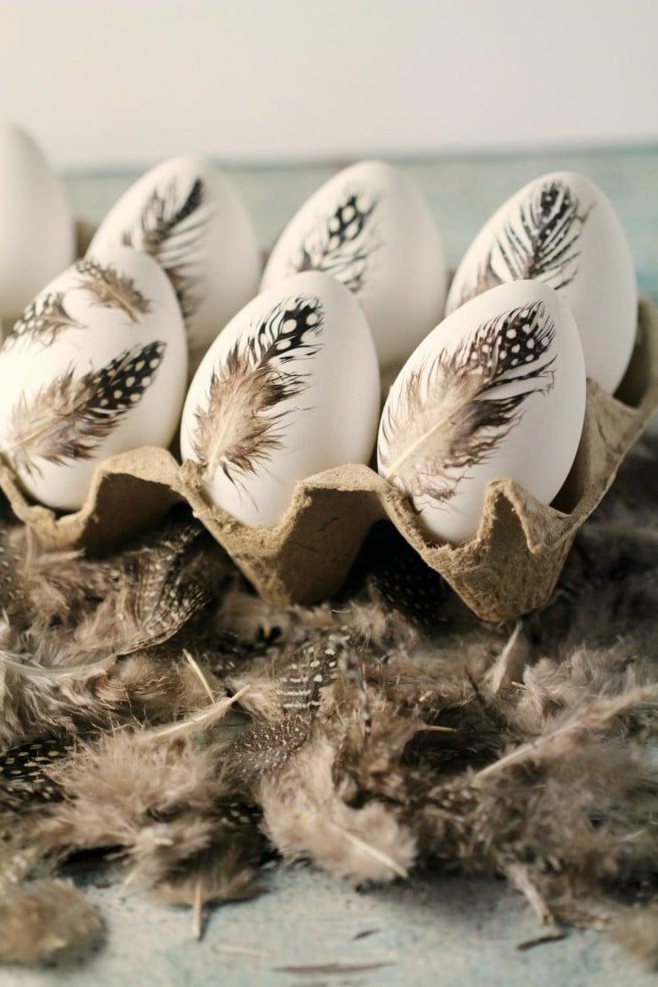 Kreative Ideen für Ostereier ohne Farbe Färben