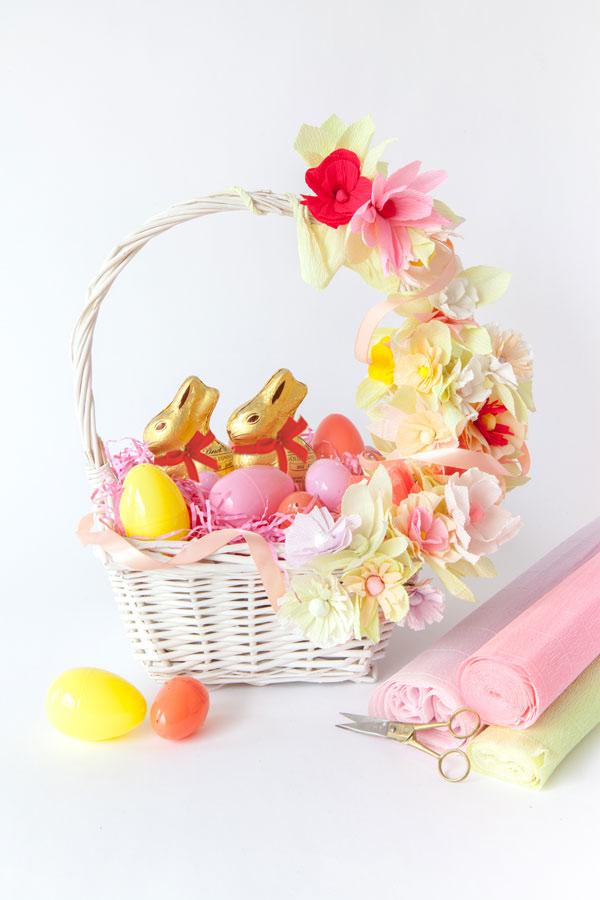 Osterkörbchen basteln mit Blumen