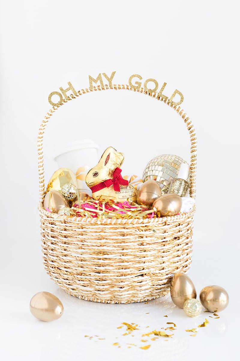 Osterkörbchen basteln golden