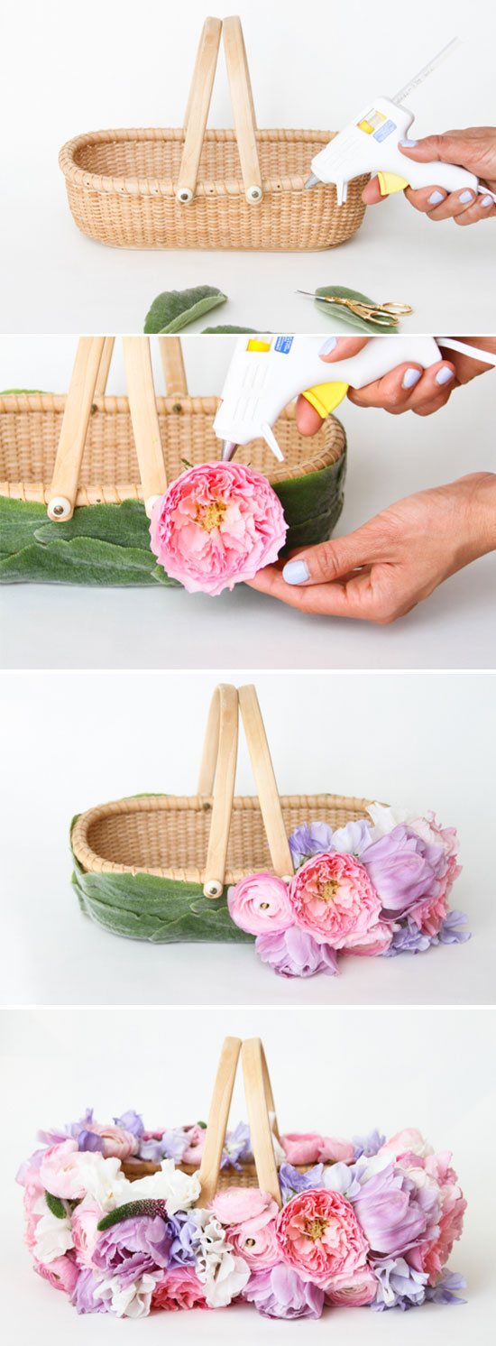 Osterkorb basteln mit Blumen Schritt für Schritt Anleitung