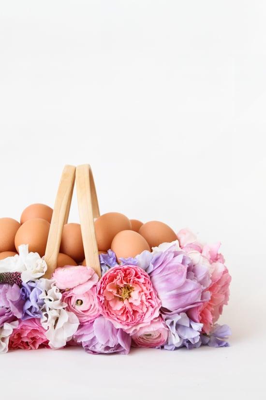 Osterkorb selber machen mit Blumen