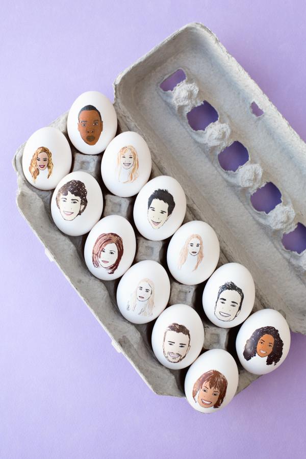 Ostereier bemalen mit Gesichter von Promis