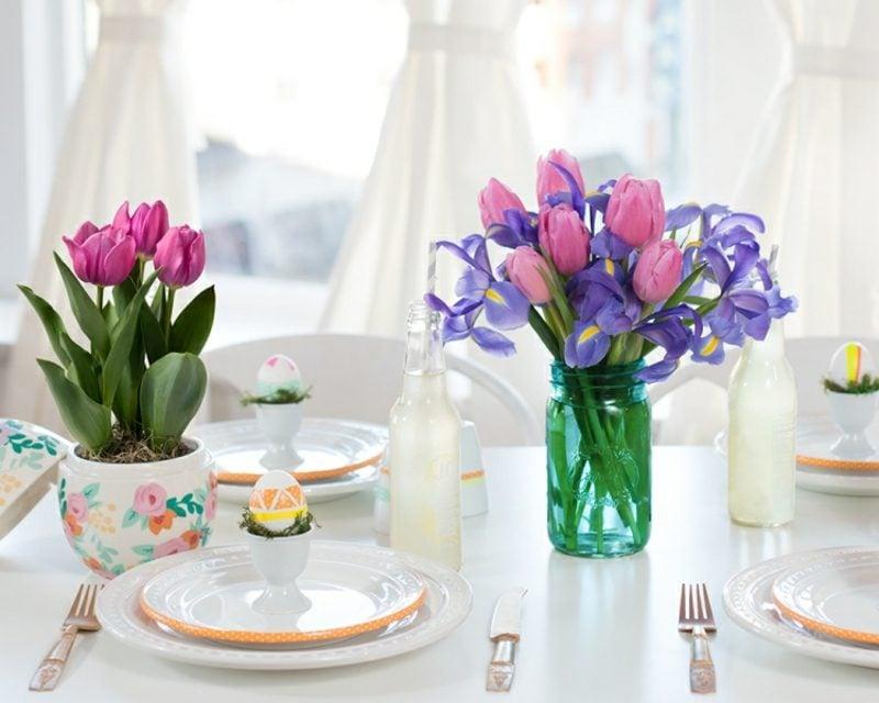 Bastelideen Frühling Tischdeko machen
