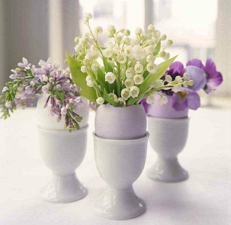 Bastelideen Frühling Ostern Tischdeko Blumen