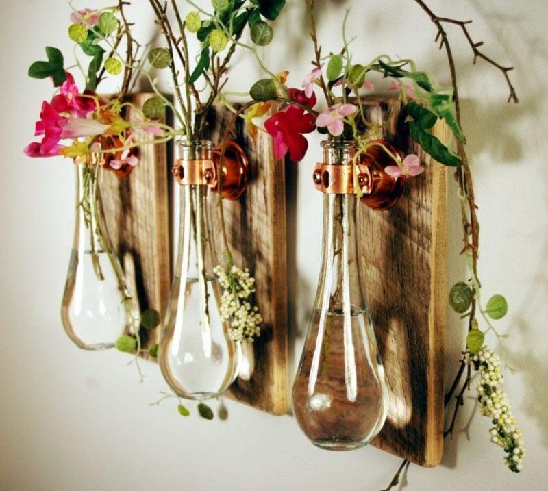 Bastelideen Frühling Blumengestecke tolle Vasen