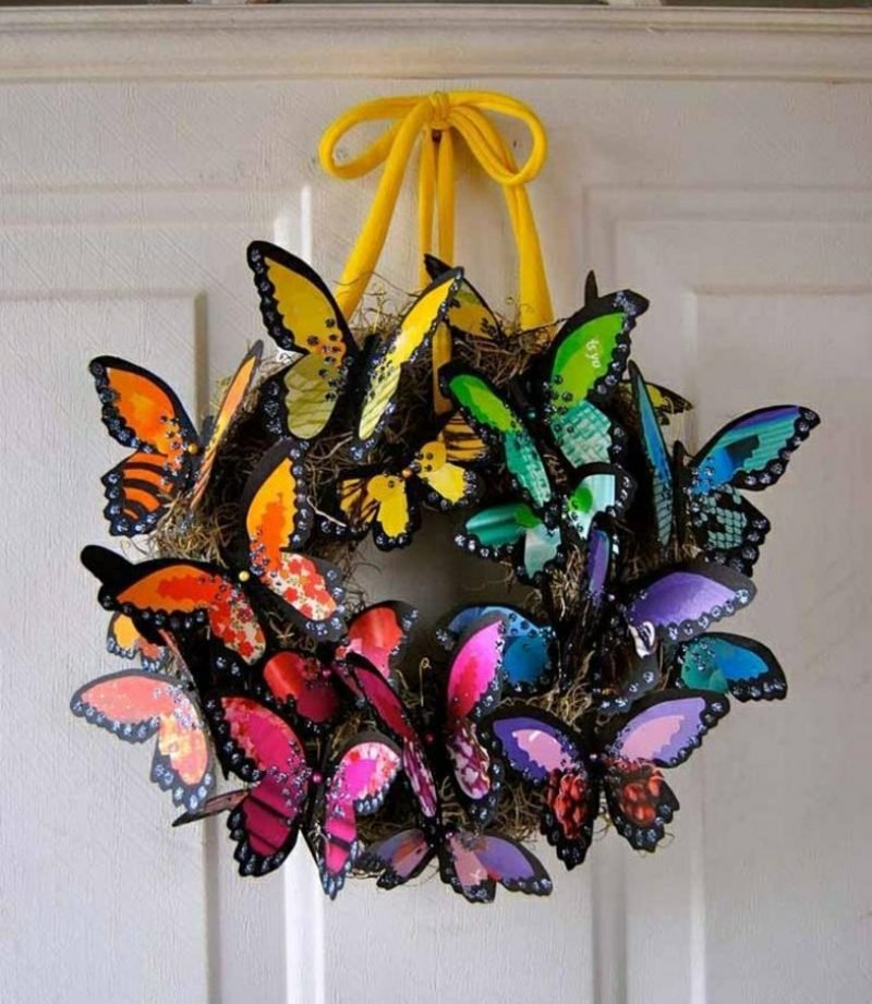 Bastelideen Frühling Kranz Schmetterlinge
