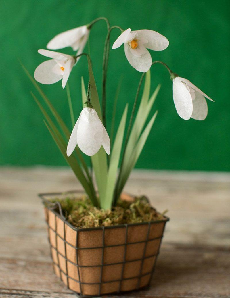 Bastelideen Frühling Schneeglöckchen Deko