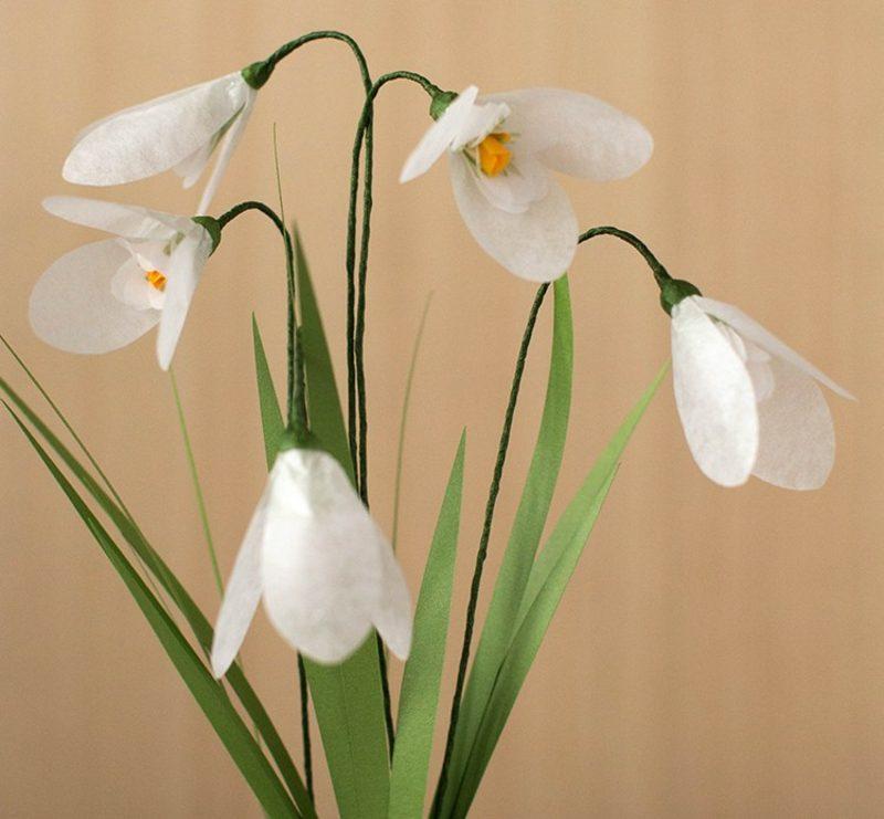 Bastelideen Frühling Schneeglöckchen aus Papier