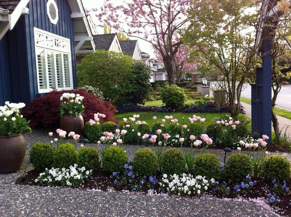 Ideen für Vorgartengestaltung im Ziergarten-Stil