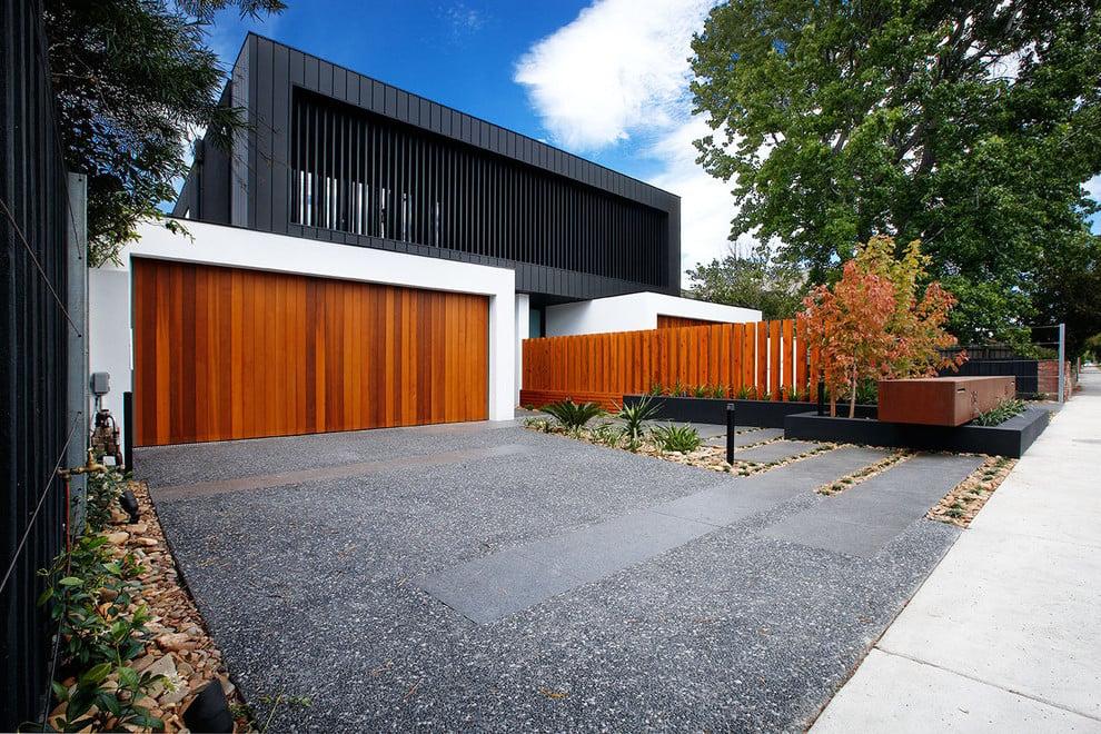Eine Vorgartengestaltung mit Kies ist die beste Alternative mit moderner Ausstrahlung.