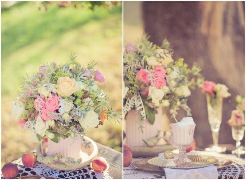 Vintage Hochzeit Blumengestecke arrangieren