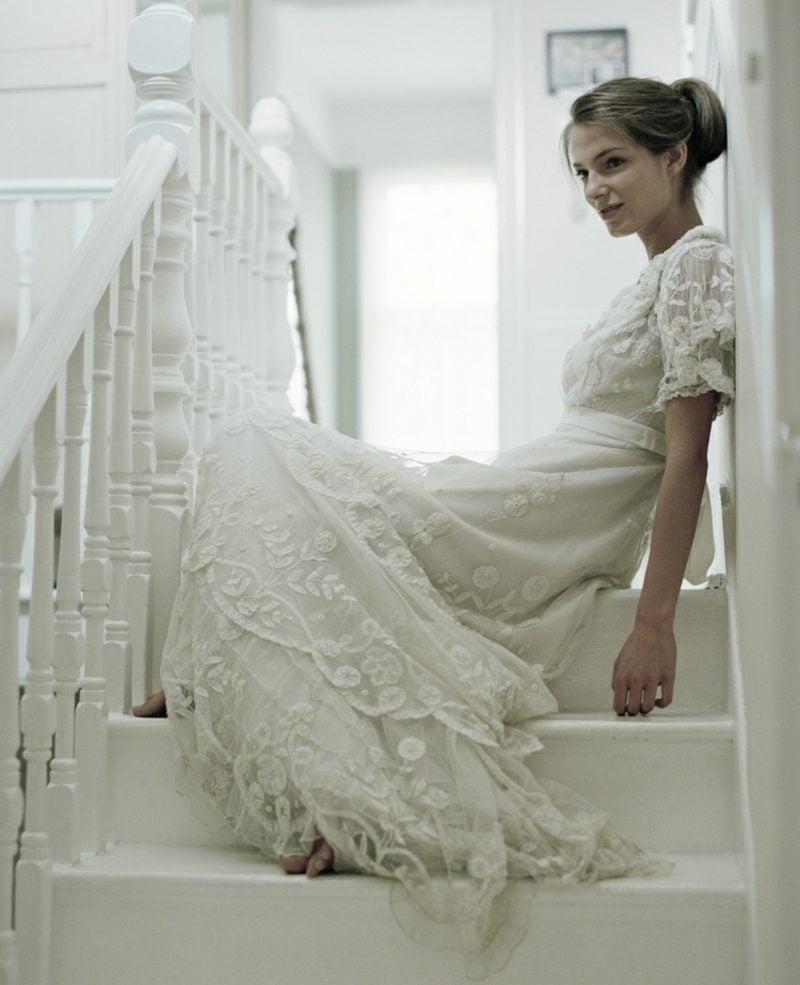 Vintage Hochzeit altmodisches Brautkleid Spitze super elegant