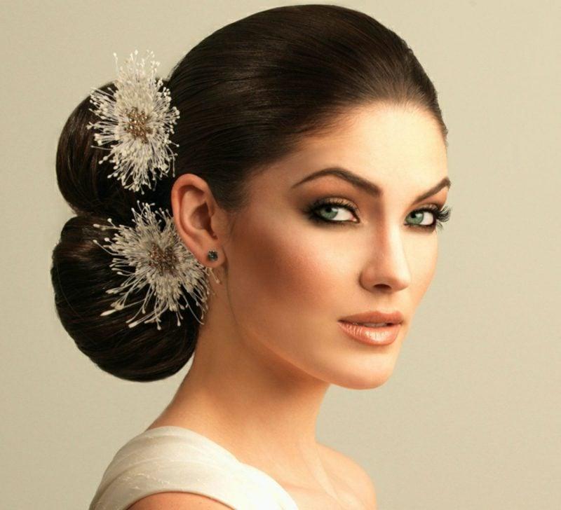 Braut Make up tolle Ideen bronze Lidschatten