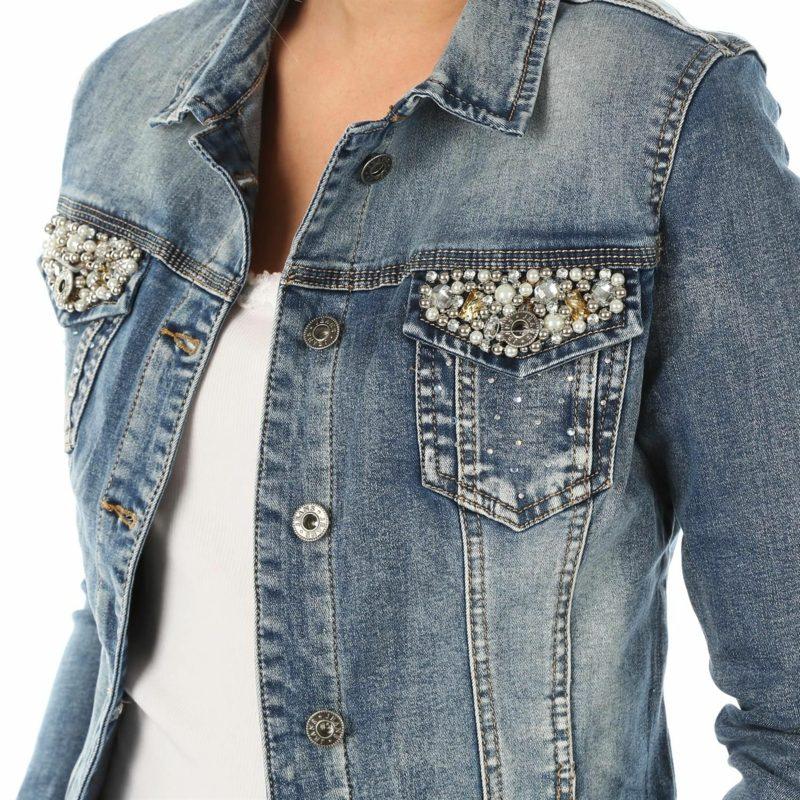Sommerjacken Damen Jeansjacke mit Perlen