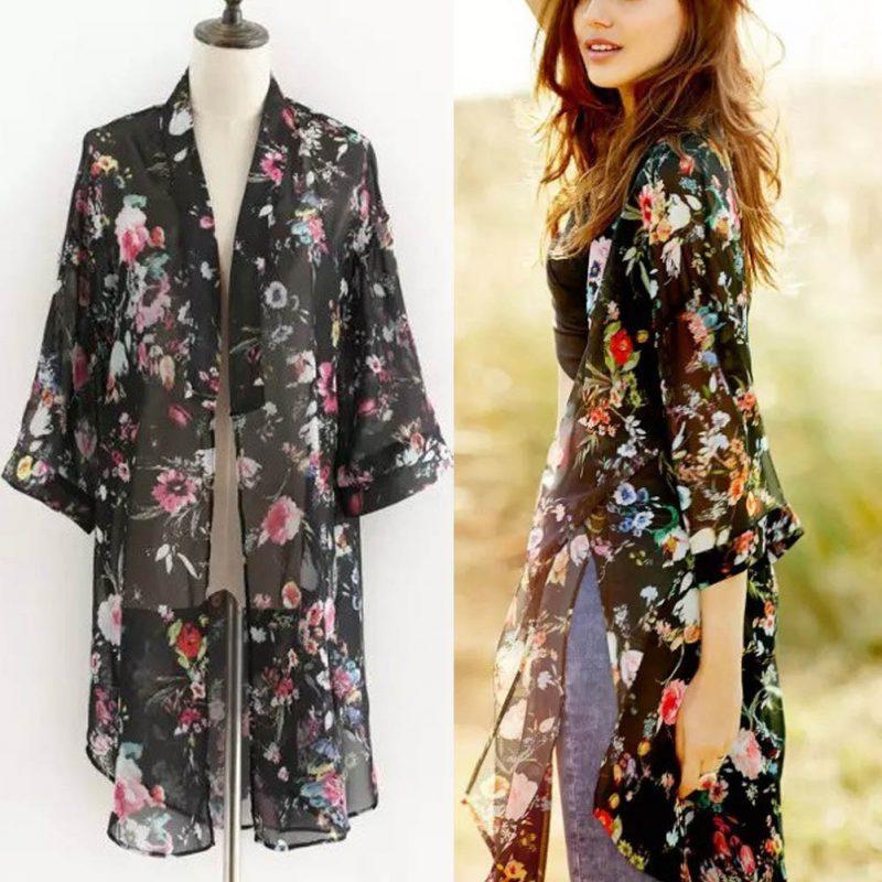 Sommerjacken Damen luftige Kimono Blumenmuster