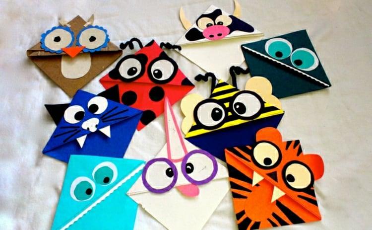 Lesezeichen basteln Tiere Papierfiguren