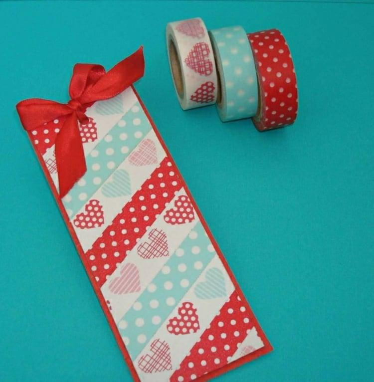 Lesezeichen basteln und dekorieren Washi Tape