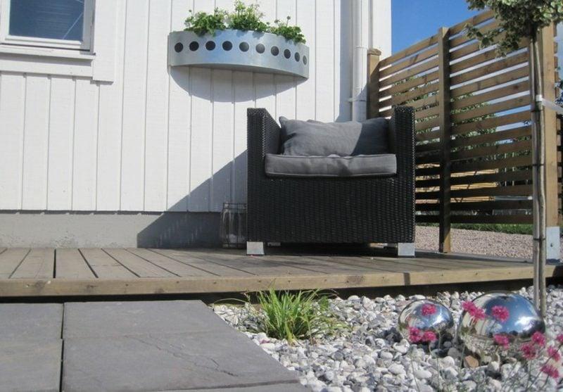 Vorgarten gestalten Kies Terrasse