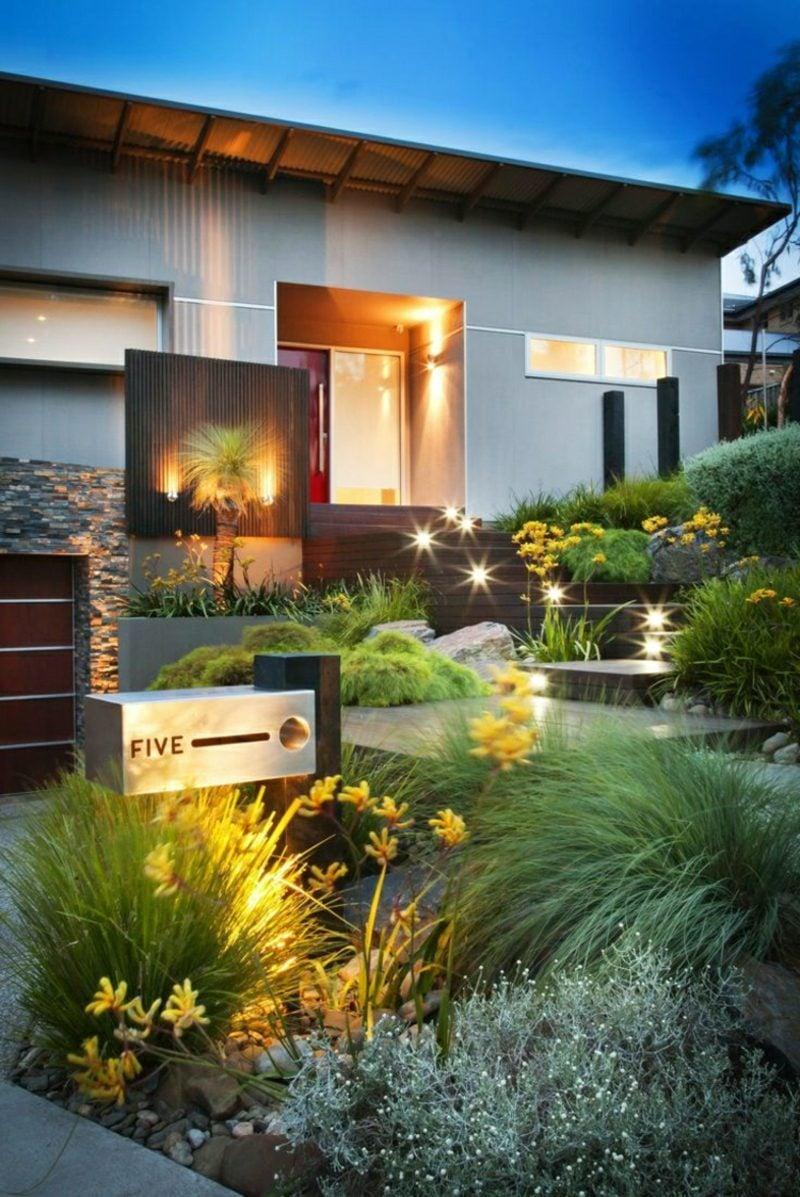 Vorgarten gestalten LED Leuchten herrlicher Look