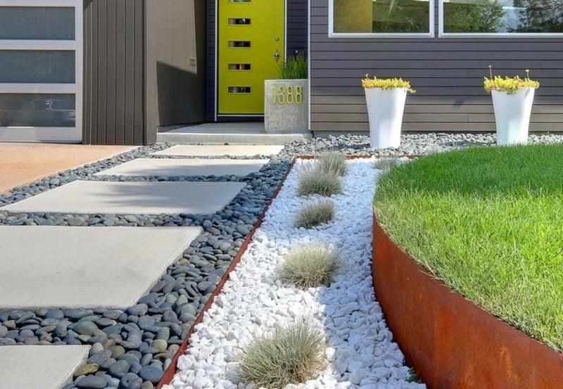Vorgarten gestalten tolle Ideen mit Kies