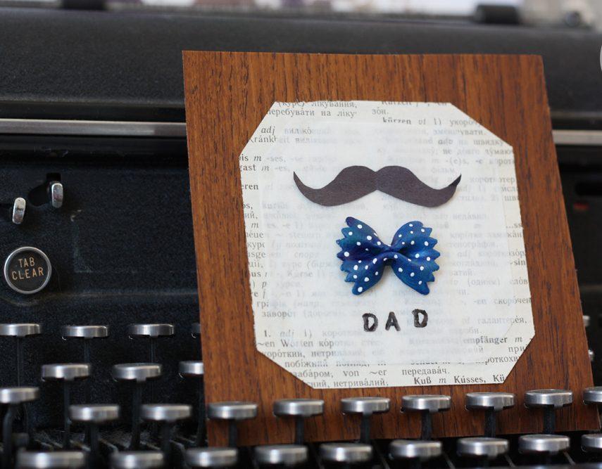 Die selbstgebastelte Vatertag-Karte mit Pasta ist die beste Art und Weise, Ihrem Vater alles Gute zum Vatertag zu wünschen