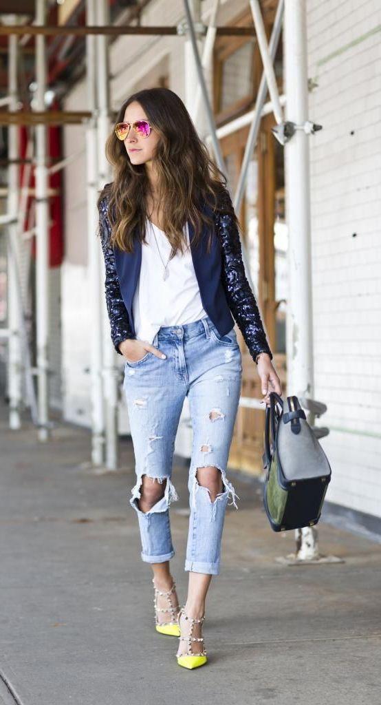 """Modetrends 2018: №4: Der """"zerrisseneJeans"""" - Style verleiht ein Großstadt-Flair Ihrem Aussehen"""