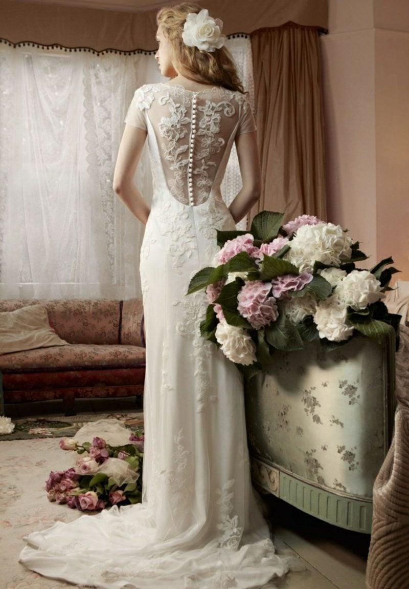 Vintage Hochzeit Brautkleid Rücken Spitze