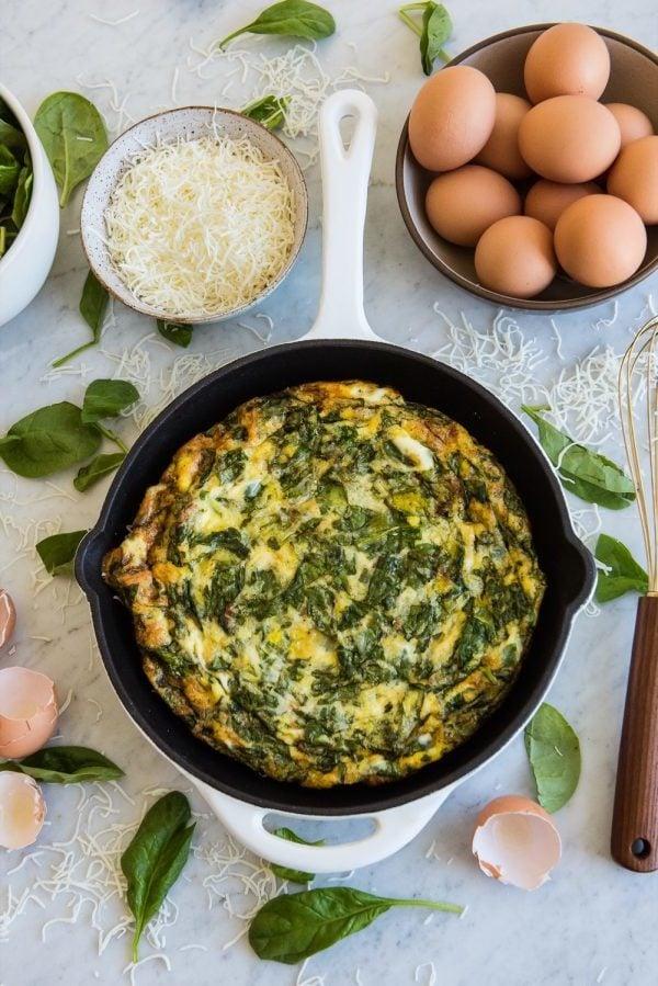 Sommer Rezepte für Mittagessen - Omelette mit Spinat
