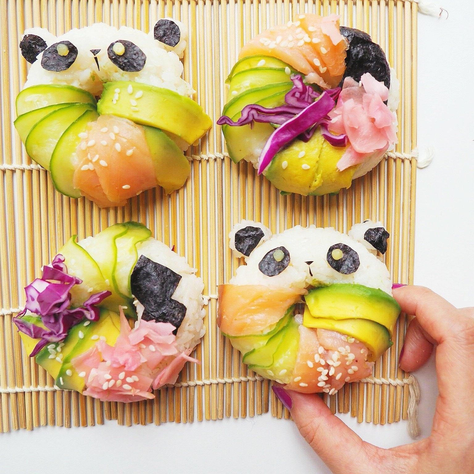 Sushi Donut in Form wie Panda