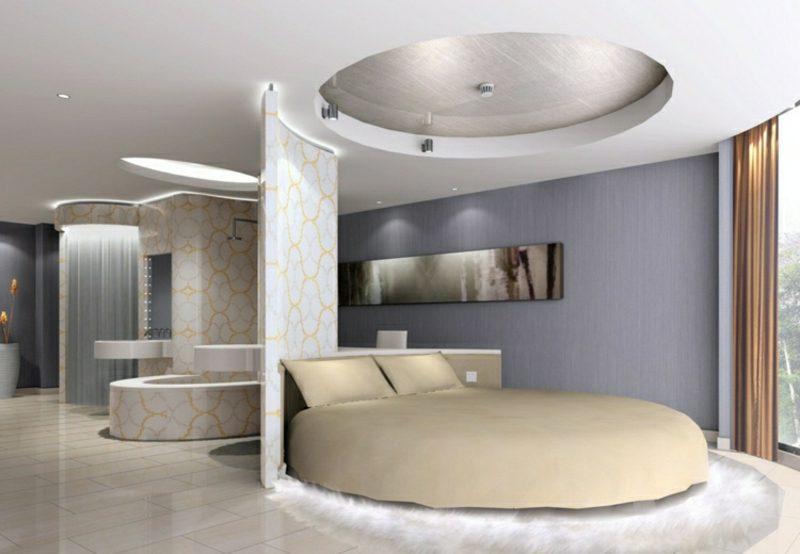 rundes Bett Schlafzimmer modern Trennwand