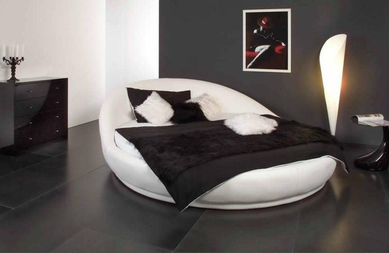 rundes Bett bequem Modell in Weiss